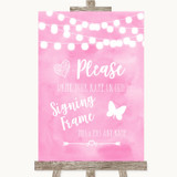 Baby Pink Watercolour Lights Signing Frame Guestbook Customised Wedding Sign