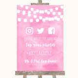 Baby Pink Watercolour Lights Social Media Hashtag Photos Wedding Sign