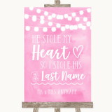 Baby Pink Watercolour Lights Stole Last Name Customised Wedding Sign