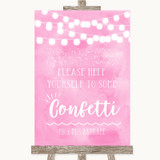 Baby Pink Watercolour Lights Take Some Confetti Customised Wedding Sign