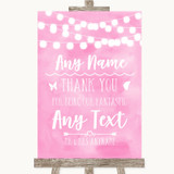 Baby Pink Watercolour Lights Thank You Bridesmaid Page Boy Best Man Wedding Sign