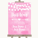 Baby Pink Watercolour Lights This Way Arrow Left Customised Wedding Sign