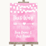 Baby Pink Watercolour Lights This Way Arrow Right Customised Wedding Sign