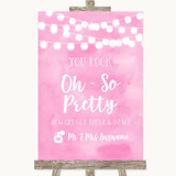 Baby Pink Watercolour Lights Toilet Get Out & Dance Customised Wedding Sign