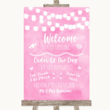 Baby Pink Watercolour Lights Welcome Order Of The Day Customised Wedding Sign