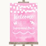 Baby Pink Watercolour Lights Welcome To Our Engagement Party Wedding Sign