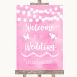 Baby Pink Watercolour Lights Welcome To Our Wedding Customised Wedding Sign