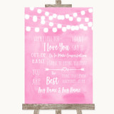 Baby Pink Watercolour Lights When I Tell You I Love You Wedding Sign