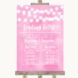 Baby Pink Watercolour Lights Who's Who Leading Roles Customised Wedding Sign