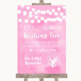 Baby Pink Watercolour Lights Wishing Tree Customised Wedding Sign