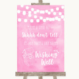 Baby Pink Watercolour Lights Wishing Well Message Customised Wedding Sign