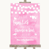 Baby Pink Watercolour Lights As Families Become One Seating Plan Wedding Sign
