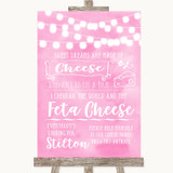 Baby Pink Watercolour Lights Cheeseboard Cheese Song Customised Wedding Sign