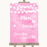 Baby Pink Watercolour Lights I Love You Message For Mum Wedding Sign