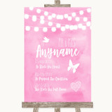 Baby Pink Watercolour Lights Important Special Dates Customised Wedding Sign