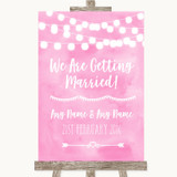 Baby Pink Watercolour Lights We Are Getting Married Customised Wedding Sign