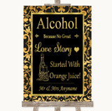Black & Gold Damask Alcohol Bar Love Story Customised Wedding Sign