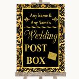 Black & Gold Damask Card Post Box Customised Wedding Sign