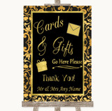 Black & Gold Damask Cards & Gifts Table Customised Wedding Sign