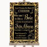 Black & Gold Damask Cheese Board Song Customised Wedding Sign