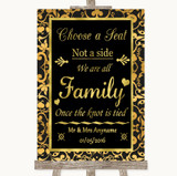 Black & Gold Damask Choose A Seat We Are All Family Customised Wedding Sign