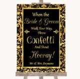 Black & Gold Damask Confetti Customised Wedding Sign