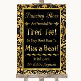 Black & Gold Damask Dancing Shoes Flip-Flop Tired Feet Customised Wedding Sign