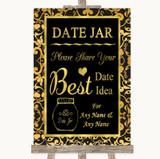 Black & Gold Damask Date Jar Guestbook Customised Wedding Sign