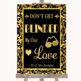 Black & Gold Damask Don't Be Blinded Sunglasses Customised Wedding Sign