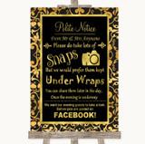 Black & Gold Damask Don't Post Photos Facebook Customised Wedding Sign