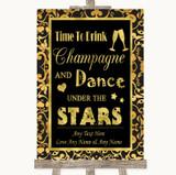 Black & Gold Damask Drink Champagne Dance Stars Customised Wedding Sign
