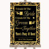 Black & Gold Damask Friends Of The Bride Groom Seating Customised Wedding Sign