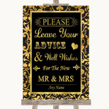 Black & Gold Damask Guestbook Advice & Wishes Mr & Mrs Customised Wedding Sign