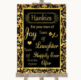 Black & Gold Damask Hankies And Tissues Customised Wedding Sign