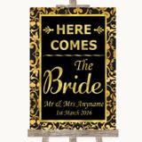 Black & Gold Damask Here Comes Bride Aisle Sign Customised Wedding Sign