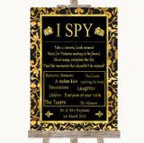 Black & Gold Damask I Spy Disposable Camera Customised Wedding Sign