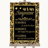 Black & Gold Damask Important Special Dates Customised Wedding Sign