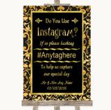 Black & Gold Damask Instagram Photo Sharing Customised Wedding Sign
