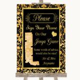 Black & Gold Damask Jenga Guest Book Customised Wedding Sign