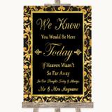 Black & Gold Damask Loved Ones In Heaven Customised Wedding Sign