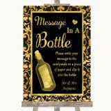Black & Gold Damask Message In A Bottle Customised Wedding Sign