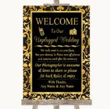 Black & Gold Damask No Phone Camera Unplugged Customised Wedding Sign