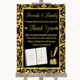 Black & Gold Damask Photo Guestbook Friends & Family Customised Wedding Sign