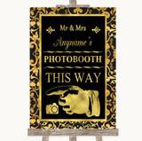 Black & Gold Damask Photobooth This Way Left Customised Wedding Sign