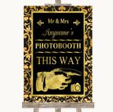 Black & Gold Damask Photobooth This Way Right Customised Wedding Sign