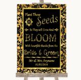 Black & Gold Damask Plant Seeds Favours Customised Wedding Sign