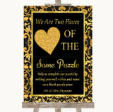 Black & Gold Damask Puzzle Piece Guest Book Customised Wedding Sign