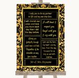 Black & Gold Damask Romantic Vows Customised Wedding Sign