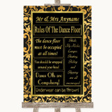 Black & Gold Damask Rules Of The Dance Floor Customised Wedding Sign