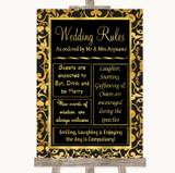 Black & Gold Damask Rules Of The Wedding Customised Wedding Sign